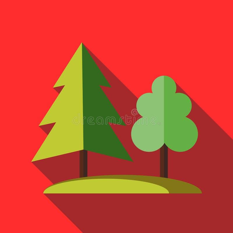 Ícone da árvore de floresta no estilo liso ilustração stock