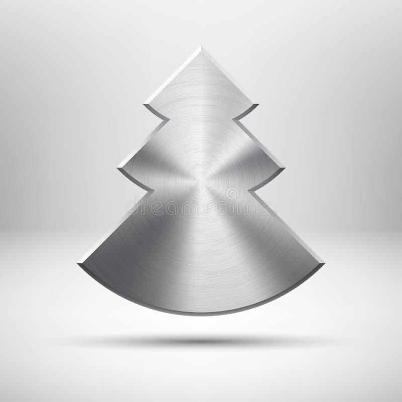 Ícone da árvore de Natal de Tecnology com textura do metal ilustração do vetor