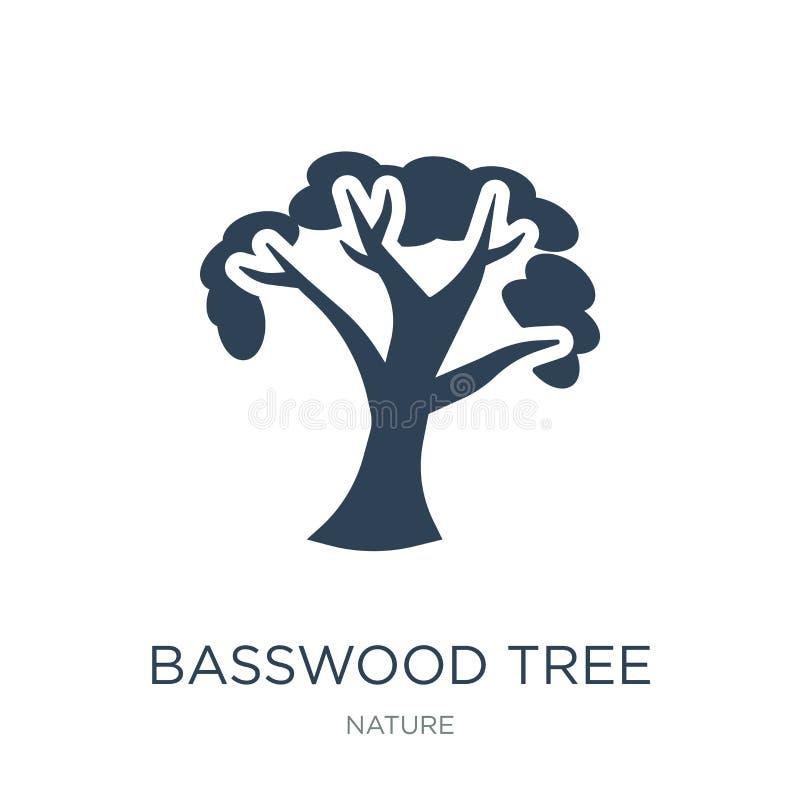 ícone da árvore do basswood no estilo na moda do projeto ícone da árvore do basswood isolado no fundo branco ícone do vetor da ár ilustração stock