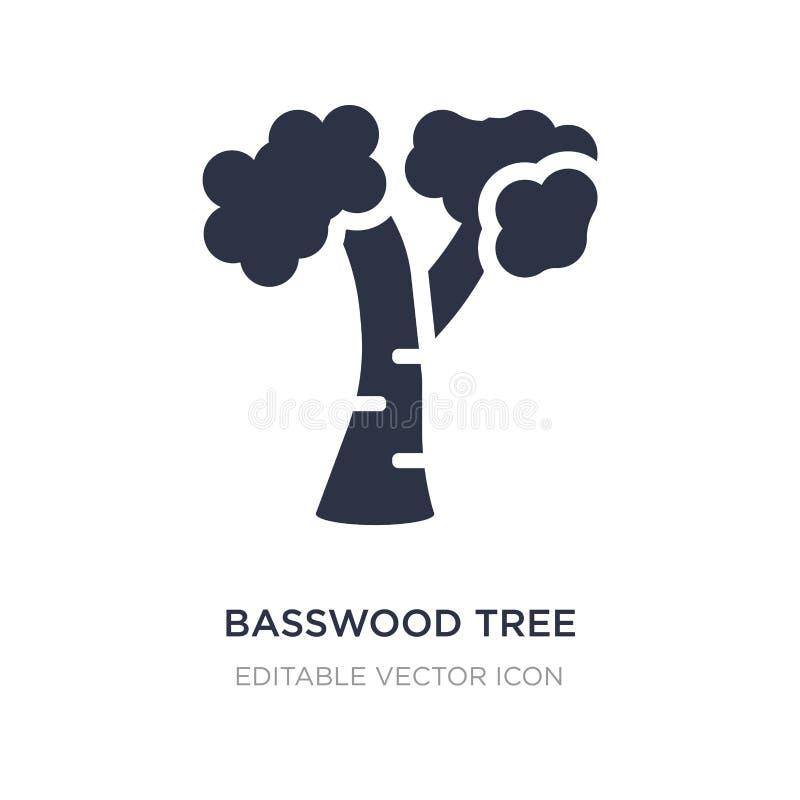 ícone da árvore do basswood no fundo branco Ilustração simples do elemento do conceito da natureza ilustração stock