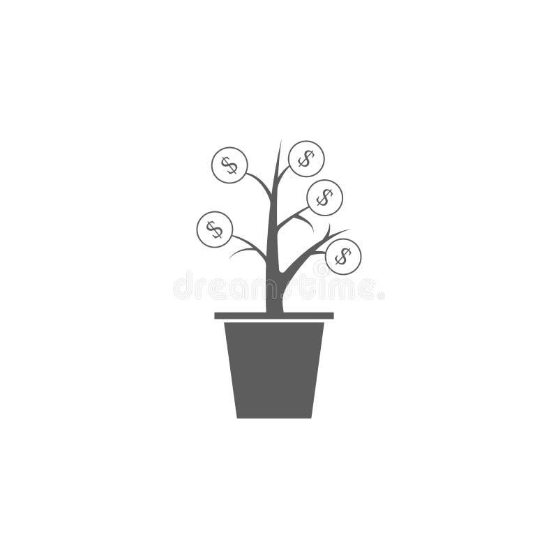 Ícone da árvore do dinheiro Elemento do ícone da finança e do negócio Ícone superior do projeto gráfico da qualidade Sinais e íco ilustração do vetor