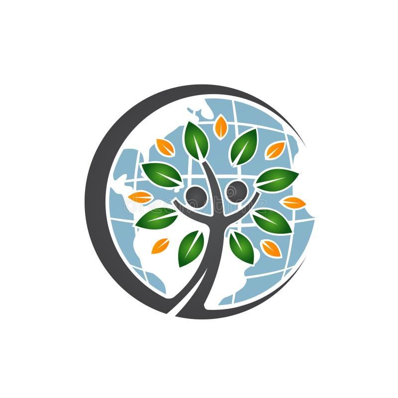 Ícone da árvore dos povos do globo ilustração stock