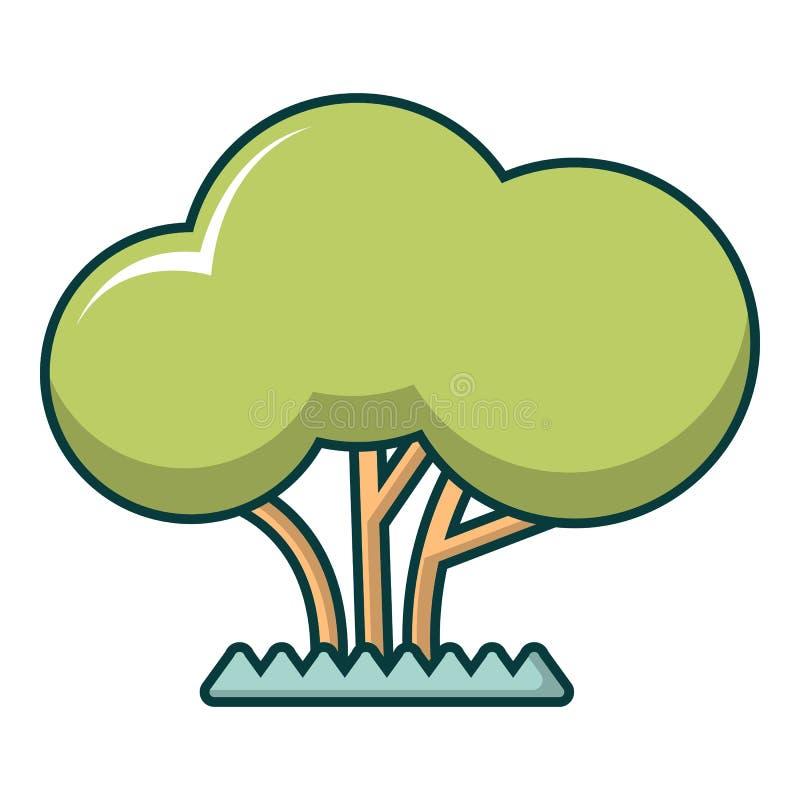 Ícone da árvore, estilo dos desenhos animados ilustração do vetor