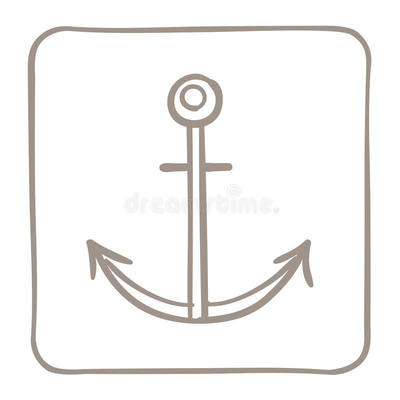 Ícone da âncora em um claro - quadro marrom Gráficos de vetor ilustração do vetor