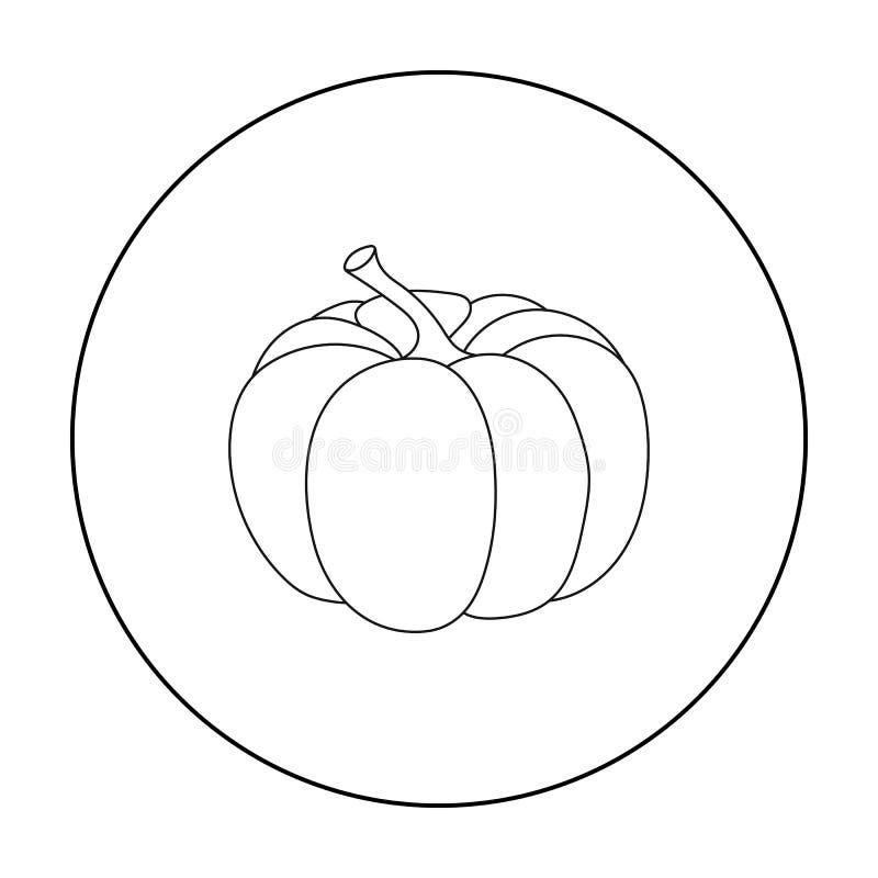 Ícone da abóbora no estilo do esboço isolado no fundo branco Ilustração canadense do vetor do estoque do símbolo do dia da ação d ilustração do vetor