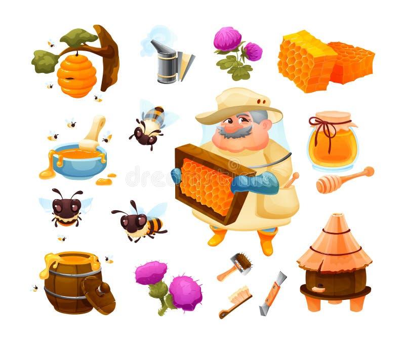 Ícone da abelha do mel ajustado com o favo de mel com colmeia Grupo da exploração agrícola da apicultura ilustração do vetor