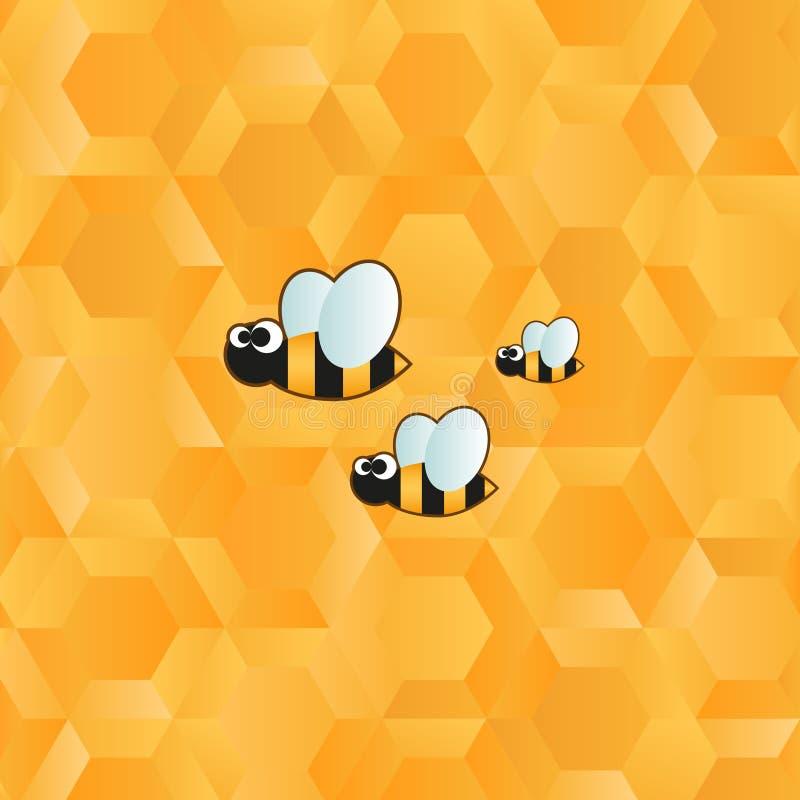 Ícone da abelha e teste padrão engraçados do favo de mel ilustração royalty free