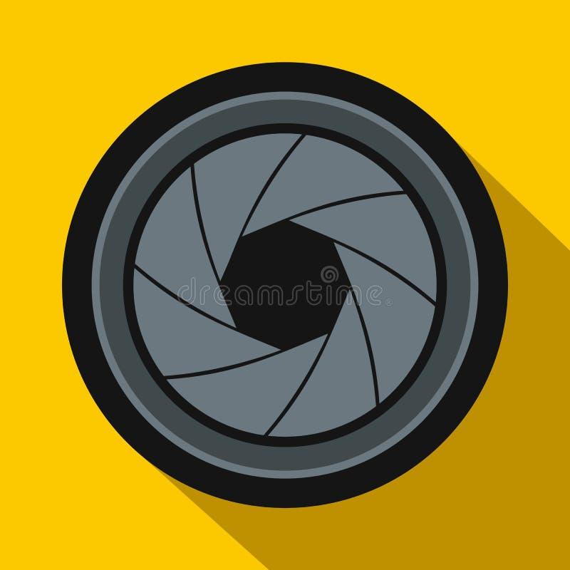 Ícone da abertura da câmera no estilo liso ilustração stock