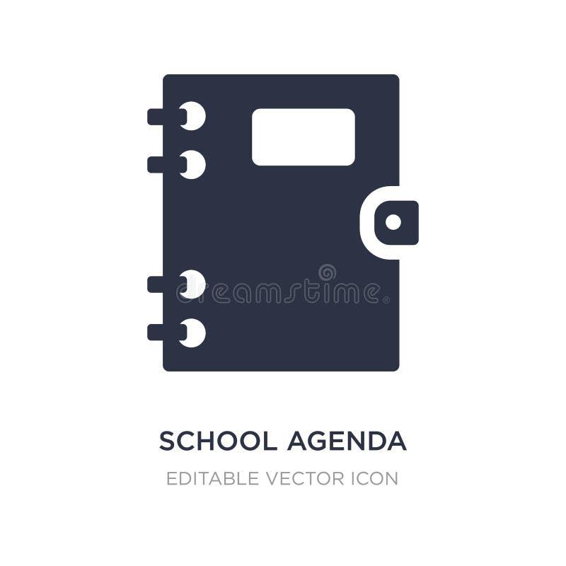 ícone da agenda da escola no fundo branco Ilustração simples do elemento do conceito da educação ilustração do vetor