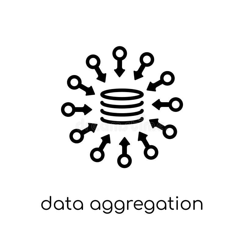 ícone da agregação dos dados Agg linear liso moderno na moda dos dados do vetor ilustração royalty free