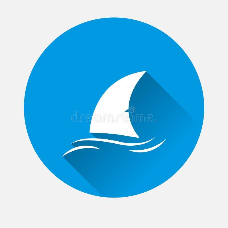 Ícone da aleta do tubarão do vetor no fundo azul Aleta lisa da imagem no ilustração stock