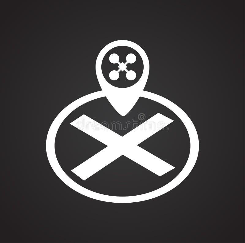 Ícone da almofada de aterrissagem do zangão no fundo preto para o gráfico e o design web, sinal simples moderno do vetor Conceito ilustração royalty free