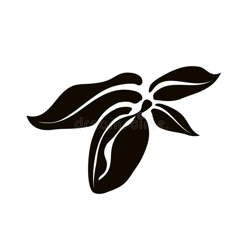 Ícone da amêndoa isolado Folhas e frutos da arte do vetor ilustração royalty free