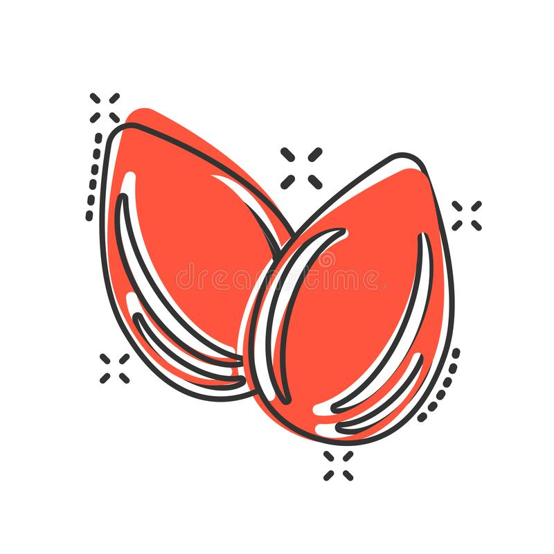 Ícone da amêndoa no estilo cômico Ilustração dos desenhos animados do vetor do feijão no fundo isolado branco Efeito do respingo  ilustração do vetor