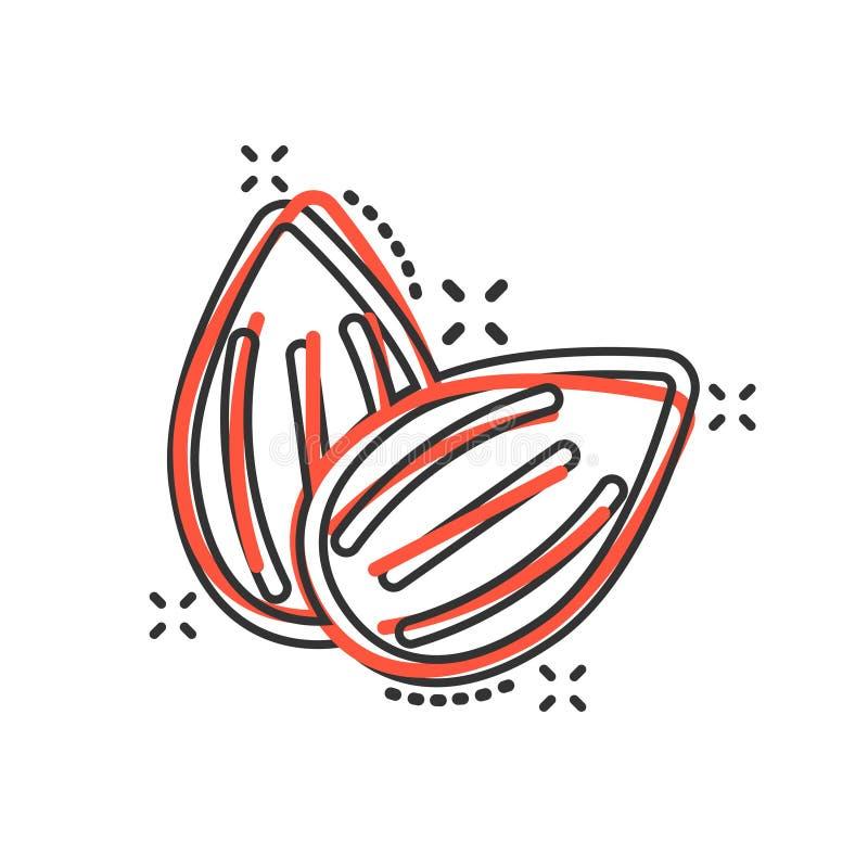 Ícone da amêndoa no estilo cômico Ilustração dos desenhos animados do vetor do feijão no fundo isolado branco Efeito do respingo  ilustração stock