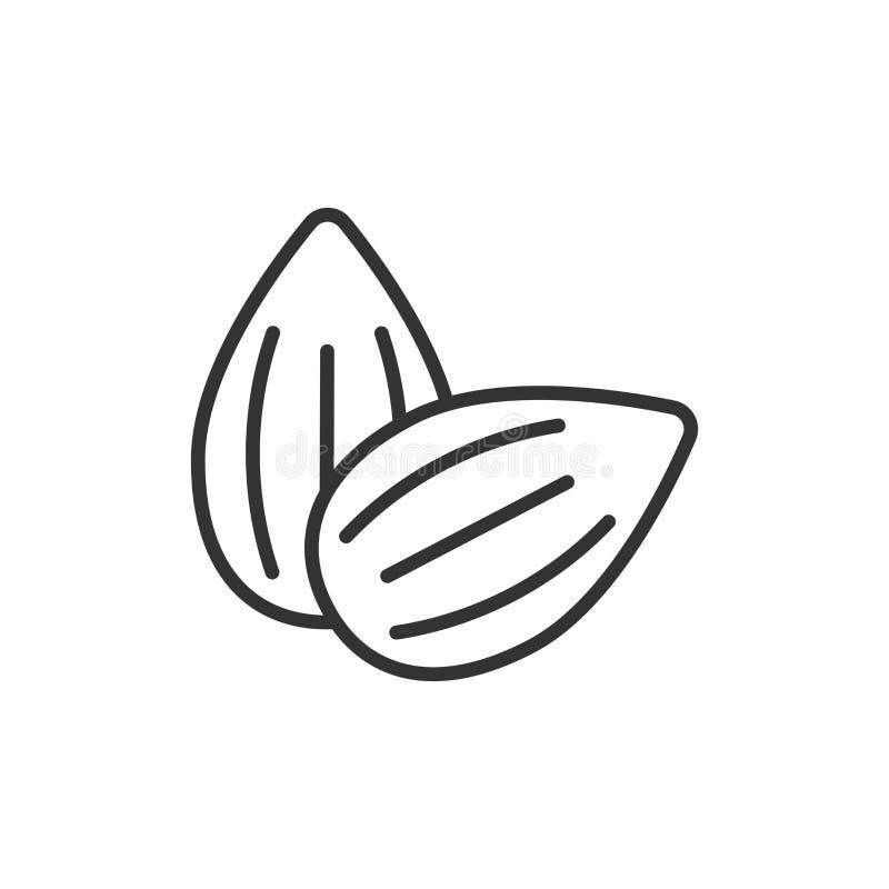 Ícone da amêndoa no estilo liso Ilustração do vetor do feijão no fundo isolado branco Conceito do negócio da porca ilustração stock