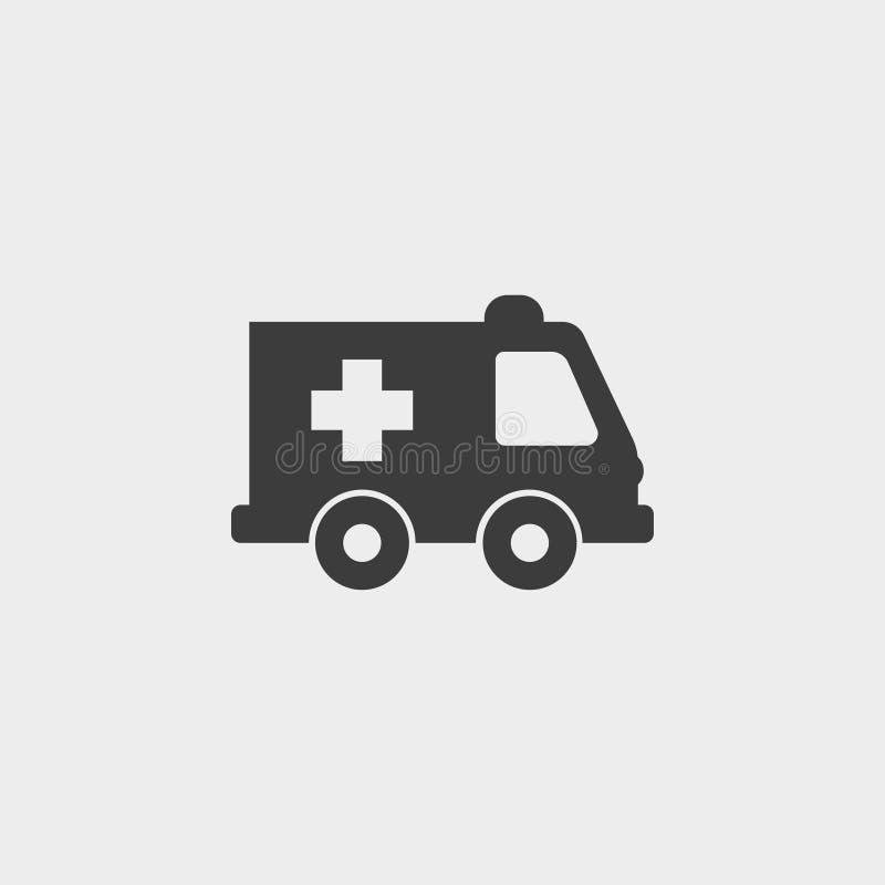 Ícone da ambulância em um projeto liso na cor preta Ilustração EPS10 do vetor ilustração royalty free