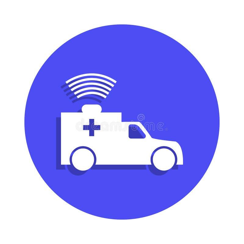 ícone da ambulância no estilo do crachá Um do ícone da coleção do protetor do fogo pode ser usado para UI, UX ilustração royalty free