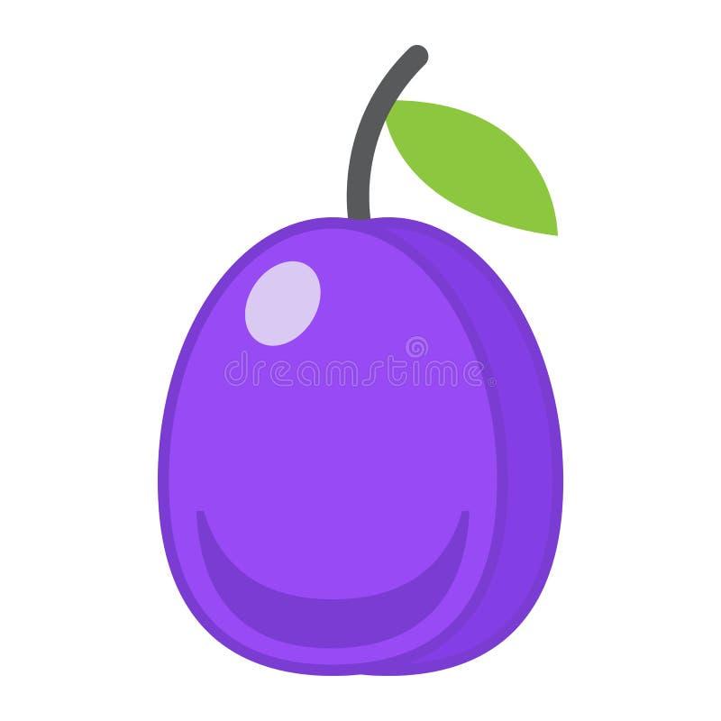 Ícone da ameixa, fruto e dieta lisos, gráficos de vetor ilustração do vetor