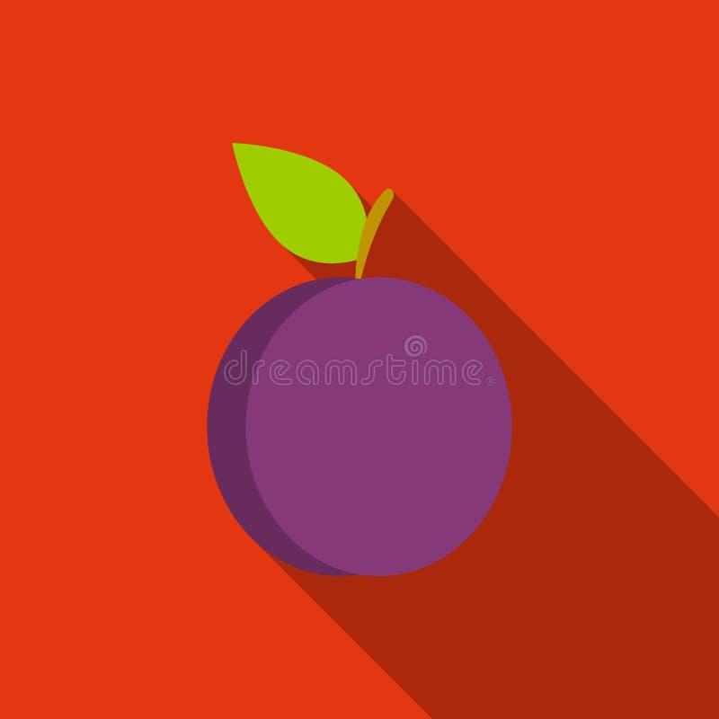 Ícone da ameixa liso Ícone do fruto da chamuscadela ilustração do vetor