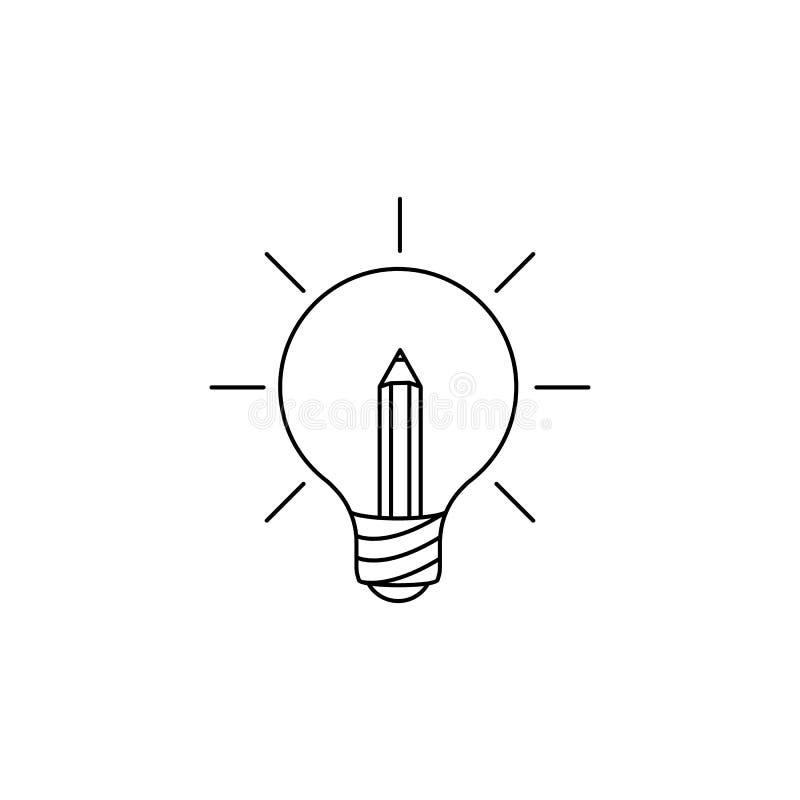 Ícone da ampola e do lápis Elemento da ideia e das soluções para apps móveis do conceito e da Web Linha fina ícone para o projeto ilustração royalty free