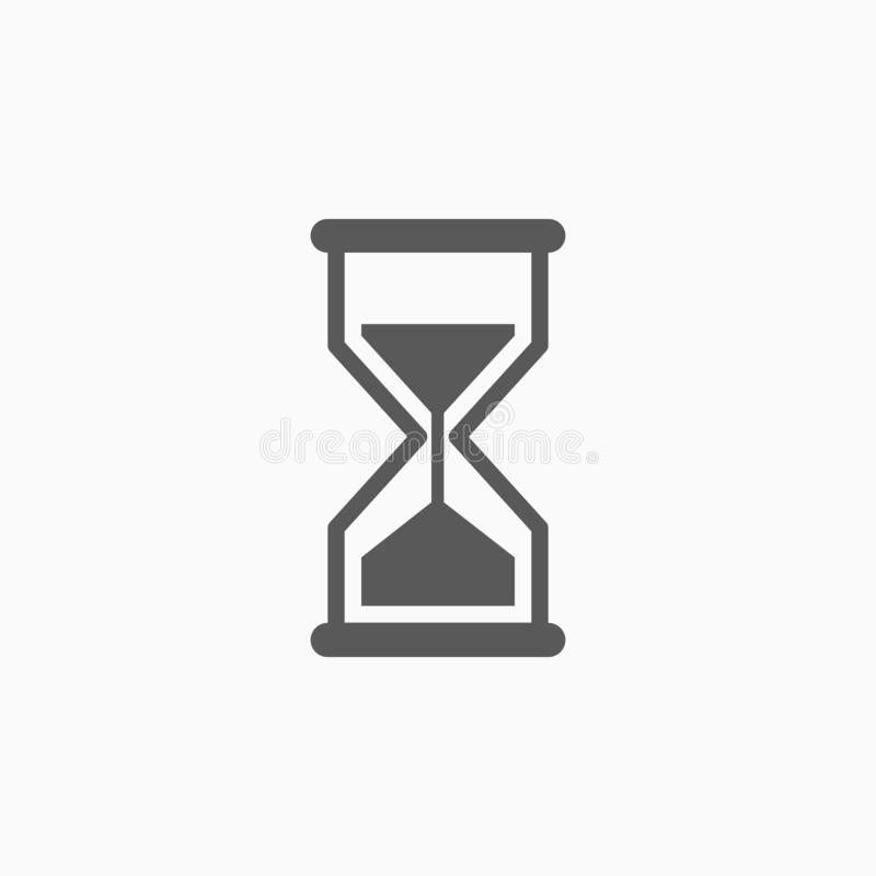 Ícone da ampulheta, vidro da areia, tempo ilustração royalty free