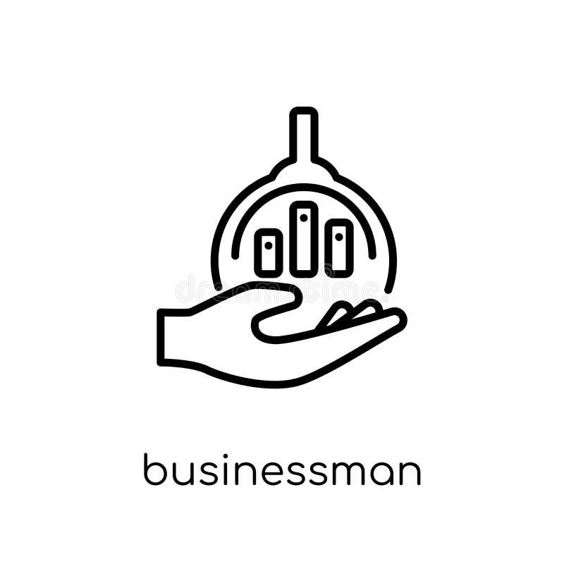 Ícone da análise do homem de negócios Busi linear liso moderno na moda do vetor ilustração do vetor
