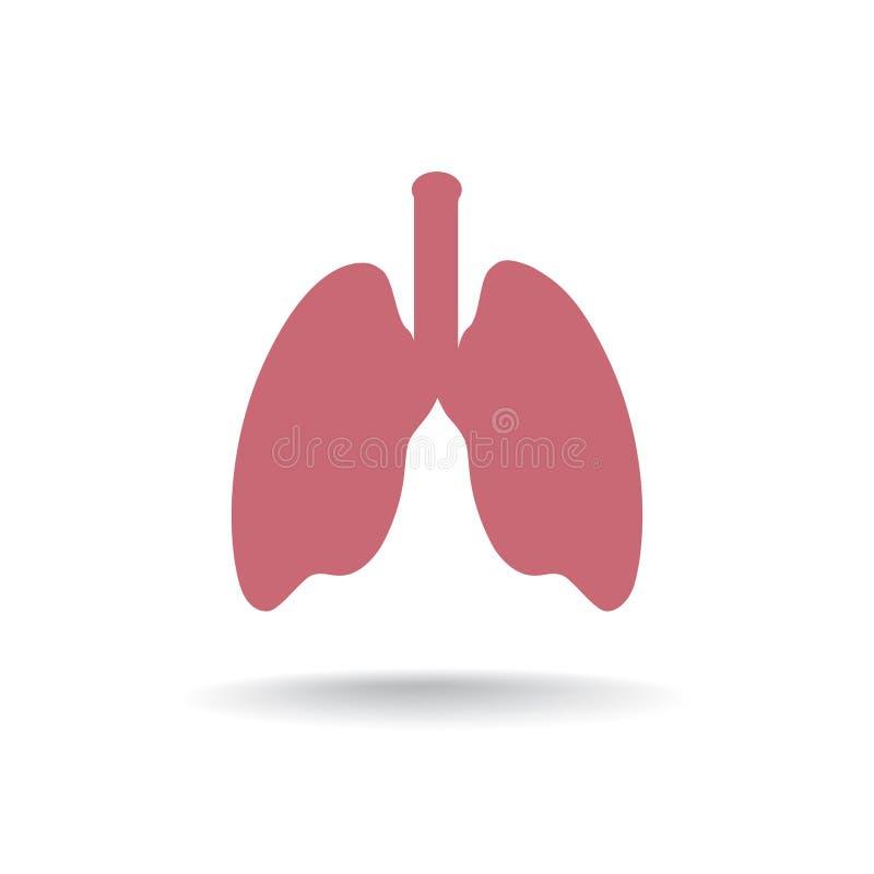 Ícone da anatomia do pulmão Sinal médico do órgão humano ilustração royalty free