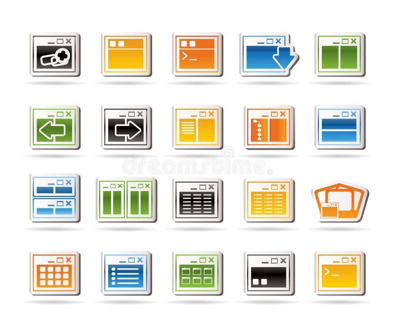 Ícone da aplicação, da programação, do server e do computador ilustração do vetor