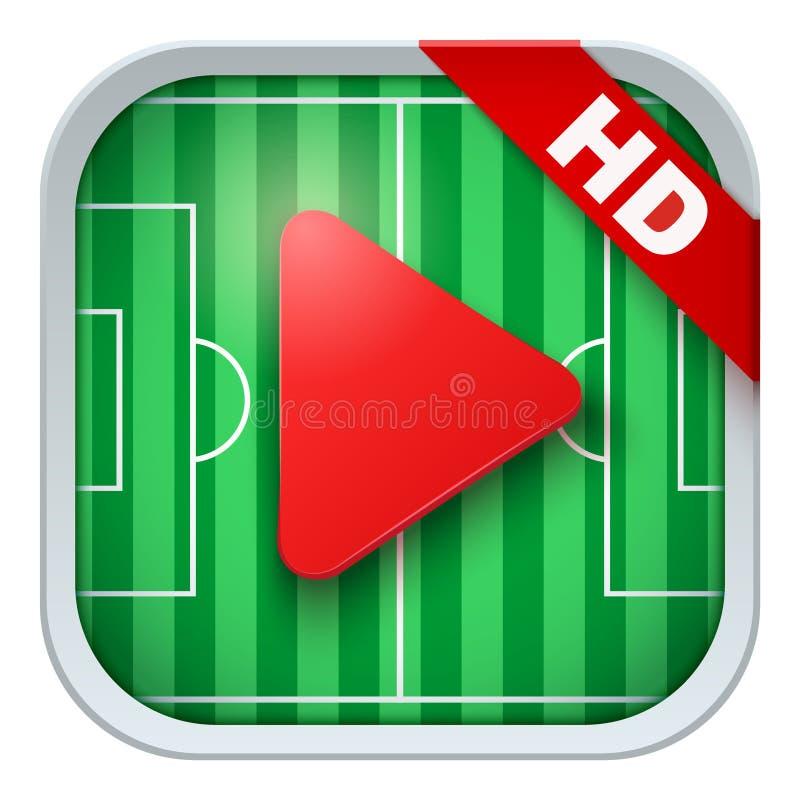 Ícone da aplicação para transmissões vivas dos esportes ou ilustração stock