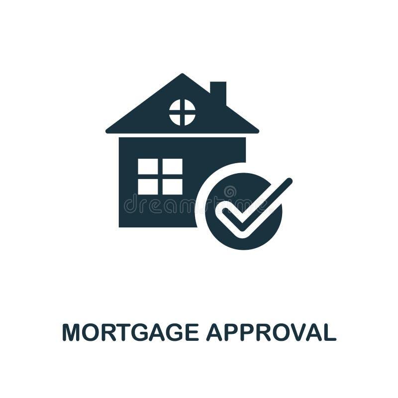 Ícone da aprovação de hipoteca Linha projeto do ícone do estilo da coleção do ícone da finança pessoal Ui Pictograma do ícone da  ilustração stock