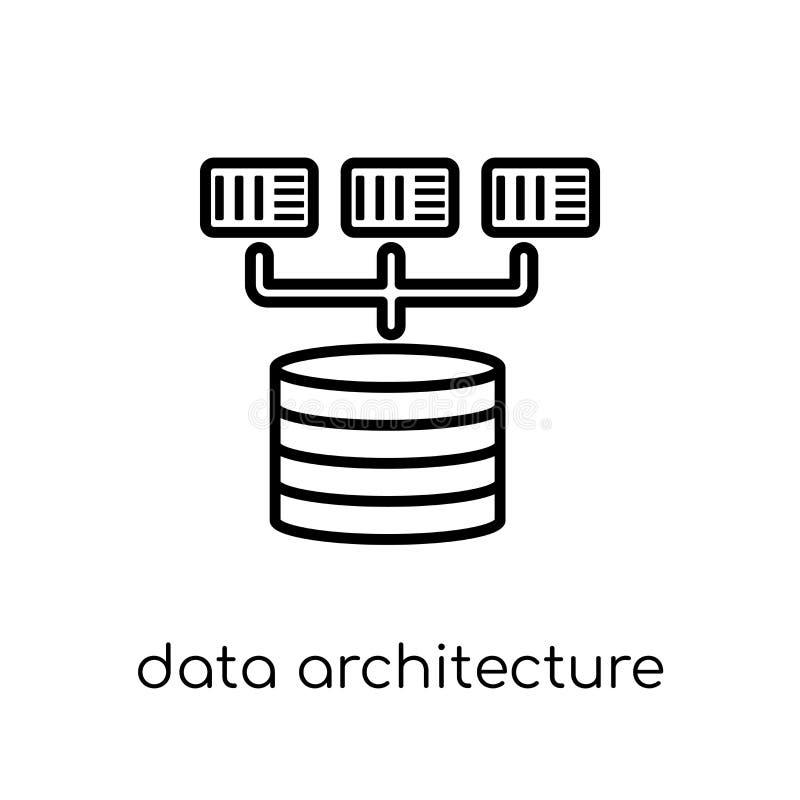 Ícone da arquitetura dos dados Dados lineares lisos modernos na moda AR do vetor ilustração do vetor