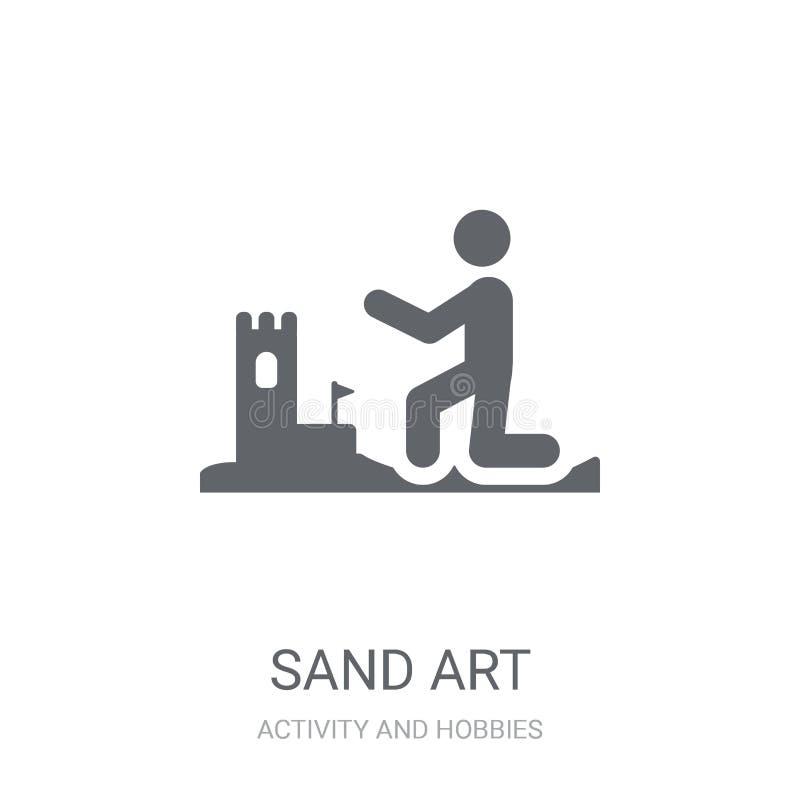 Ícone da arte da areia Conceito na moda do logotipo da arte da areia no fundo branco ilustração do vetor