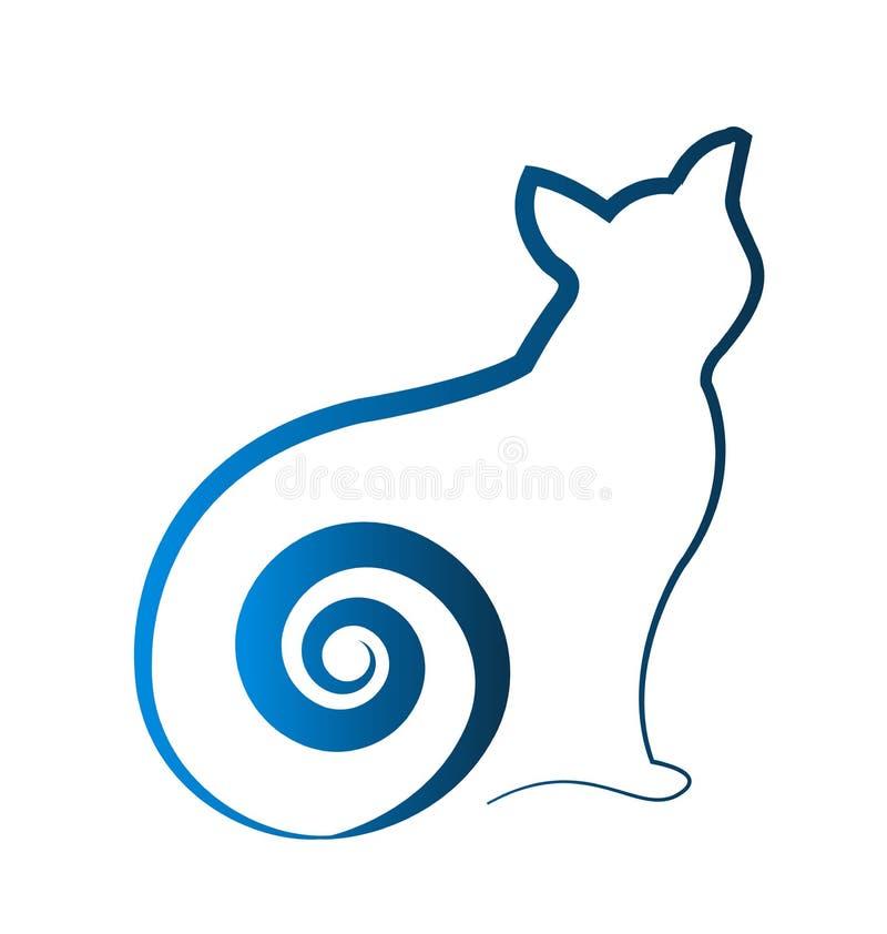 Ícone da arte do vetor do esboço da forma do gato azul ilustração do vetor