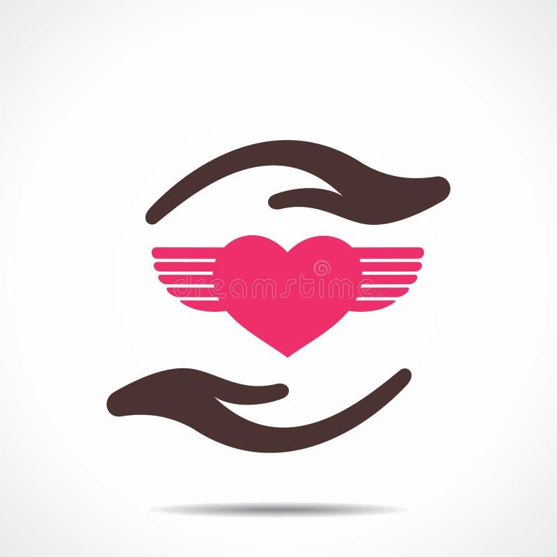 Ícone da asa do coração sob a mão ilustração do vetor