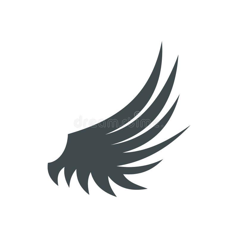 Ícone da asa dos pássaros, estilo liso ilustração stock