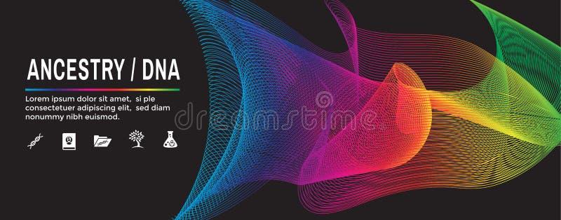 Ícone da ascendência ou da árvore genealógica com a bandeira de encabeçamento da Web do álbum da árvore genealógica & o grupo do  ilustração stock