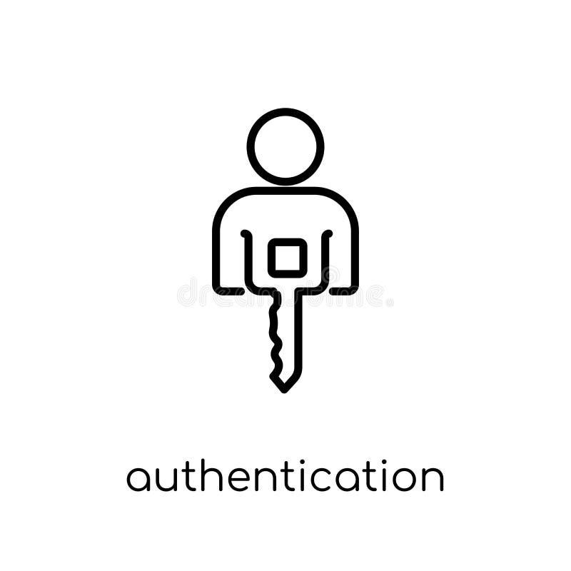 Ícone da autenticação Vetor linear liso moderno na moda Authentica ilustração stock