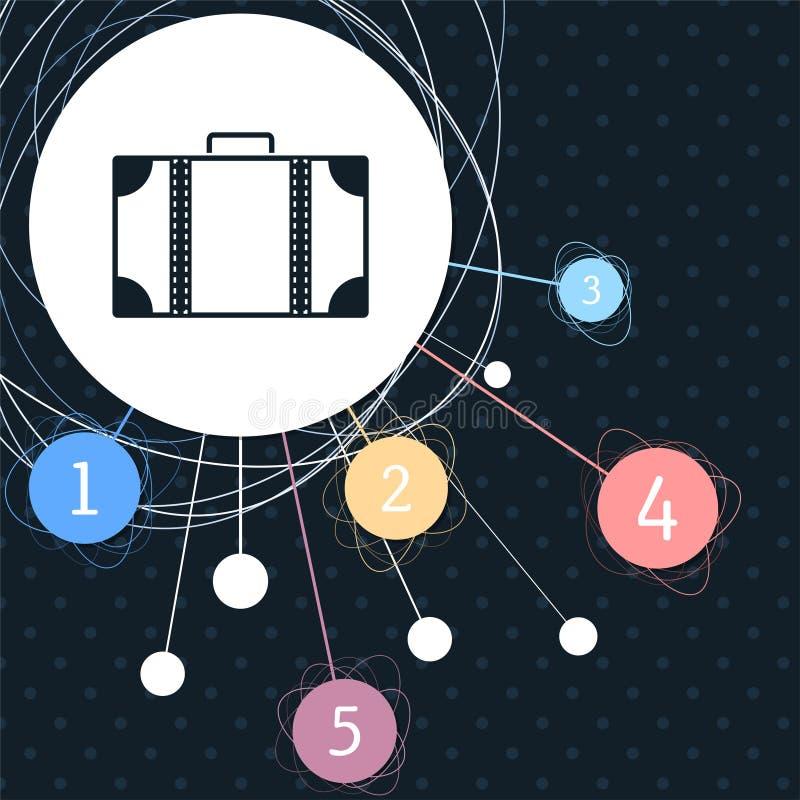 Ícone da bagagem com o fundo ao ponto e com estilo infographic ilustração do vetor