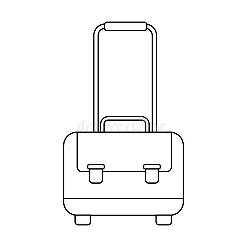 Ícone da bagagem do esboço S?mbolo do breve caso Bot?o do saco do curso ilustração stock