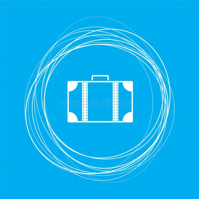 Ícone da bagagem em um fundo azul com círculos abstratos em torno e lugar para seu texto ilustração do vetor