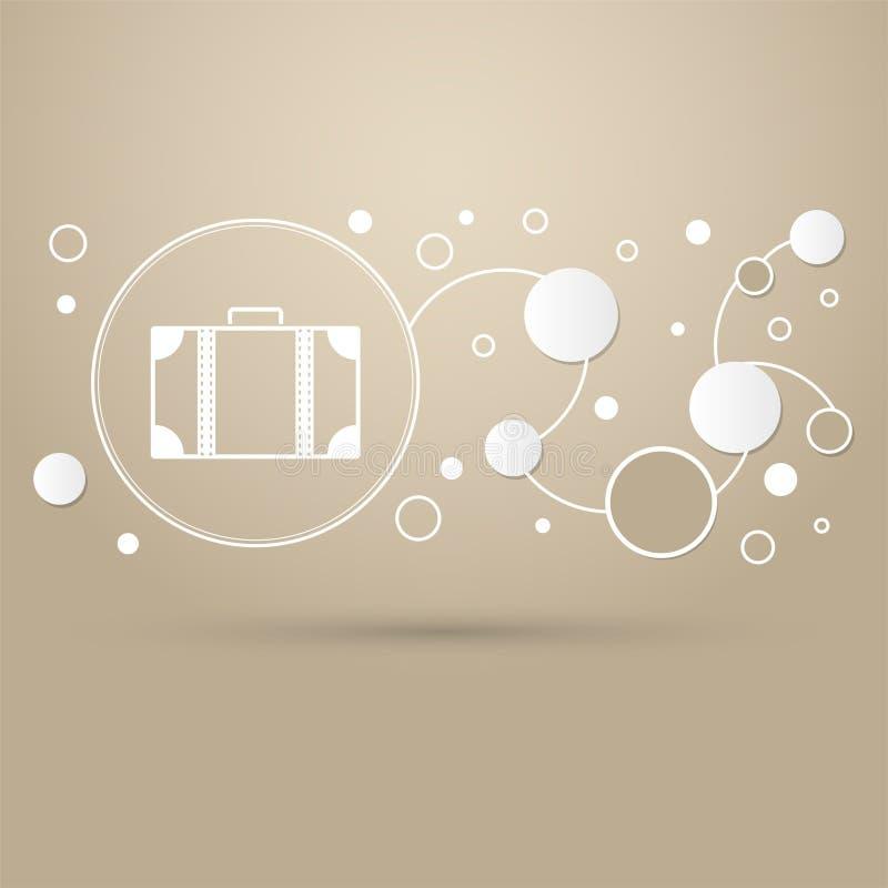 Ícone da bagagem em um fundo marrom com estilo elegante e o projeto moderno infographic ilustração do vetor