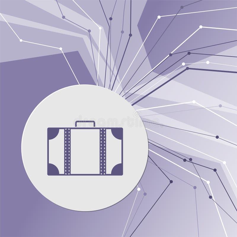 Ícone da bagagem no fundo moderno abstrato roxo As linhas em todos os sentidos Com sala para sua propaganda ilustração do vetor