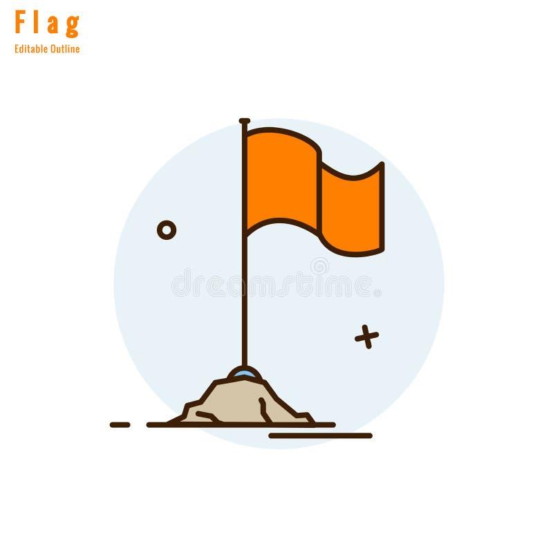 Ícone da bandeira, bandeira da competição, marco miliário do negócio, sucesso, bandeira da laranja de templo, linha fina curso ed ilustração do vetor