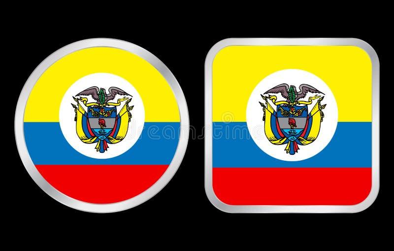 Ícone da bandeira de Colômbia ilustração stock