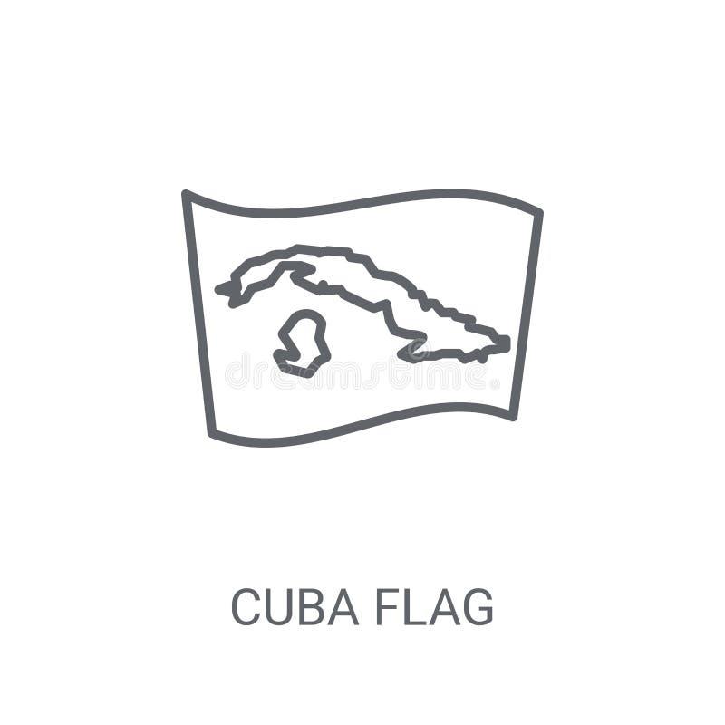 Ícone da bandeira de Cuba Conceito na moda do logotipo da bandeira de Cuba no backgroun branco ilustração do vetor