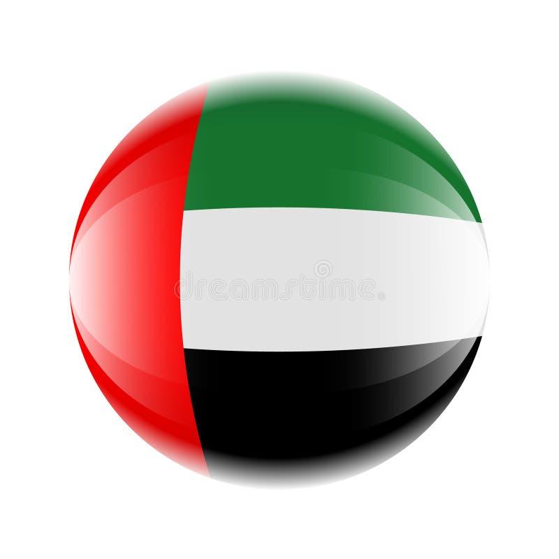 Ícone da bandeira de Emiratos Árabes Unidos sob a forma de uma bola ilustração stock