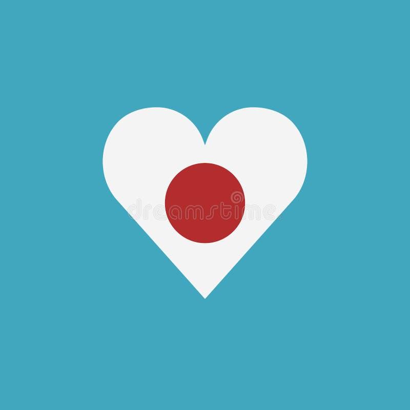 Ícone da bandeira de Japão em uma forma do coração no projeto liso ilustração royalty free