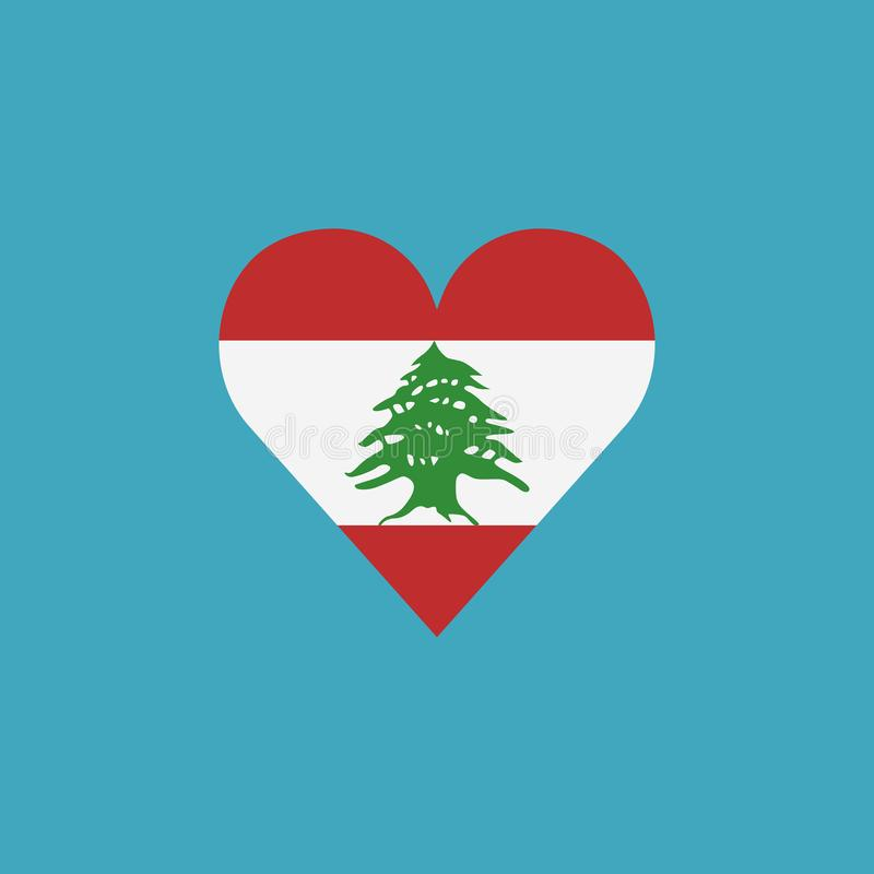 Ícone da bandeira de Líbano em uma forma do coração no projeto liso ilustração royalty free