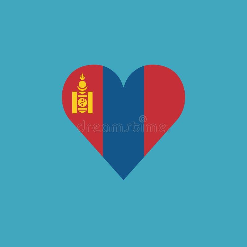 Ícone da bandeira de Mongólia em uma forma do coração no projeto liso ilustração stock